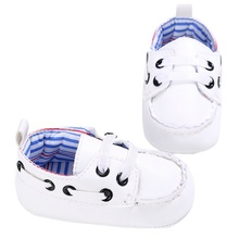 Fashion Baby Boys Girls PU First Walker Toddlers Kids Lace-up Shoes White Blue Black 2017