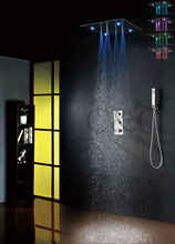 Thermostatic Concealed Bathroom Bath Shower Set 20 Inch 7 Colors 100V~240V AC LED Bathroom Shower Head(China)