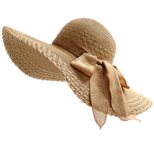 Fahsion Women's Bowknot Large Wide Brim Foldable Roll up Straw Cap Beach Sun Hat