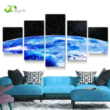 5 Panel Painting Cosmos Pictures Space Canvas Art Blue Earth Painting Universe Wall Picture For Living Room Starry Sky Pictures(China)