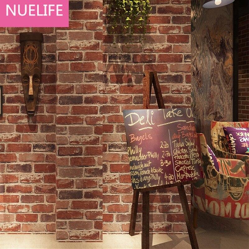 0.53x10 Meter Retro Nostalgic 3D Stereo Brick Wallpaper Cafe Bar Restaurant Culture Stone Red Brick Wallpaper<br>