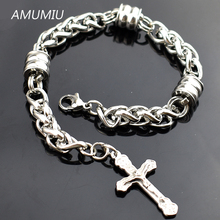 AMUMIU Stainless Steel Chunky Silver Charm Bracelets with The Cross For Mens Jewellery,Rosary Chain Link, Wholesale HZB031(China)