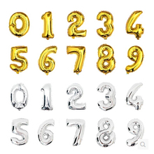 Free Shipping 16 inch Foil Gold and Silver Number Balloon birthday Float air balls Wedding party decoration balloon Kids Toy(China)