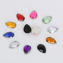 100pcs/lot 8*13mm Sewing Flatback Rhinestone Sew on Strass Crystal Stone Drop Shape Acrylic Beads For DIY Clothes Decoration(China)