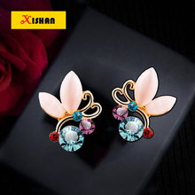 Colored Rhinestone White Crystals Opal Clip Earrings For Women Female Jewelry No Hole Ear Clips Earrings Brincos ear cuff