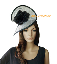 NEW White black sinamay fascinator hat with silk flower  for wedding,kentucky derby,races church.