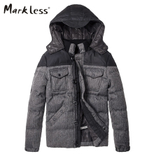 Markless 2016 Men's Thick Down Jackets Brand Clothing Mens Casual Spliced Hooded Man Down Coats Male Fashion Winter Outerwear