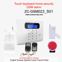 Touch keyboard LCD display home security gsm alarm system English Russian Spanish Czech French Polish language Free shipping