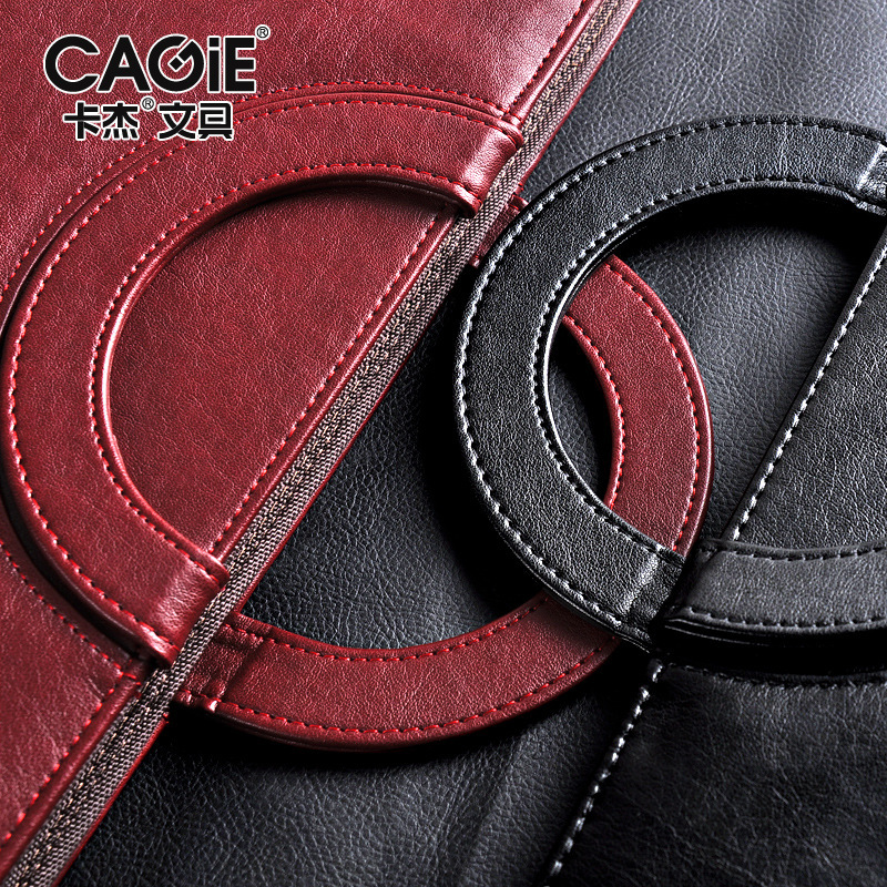 black red business zipper PU leather portfolio a4 documents folder cases manager bag Tablet PC mobile padfolio binder<br>