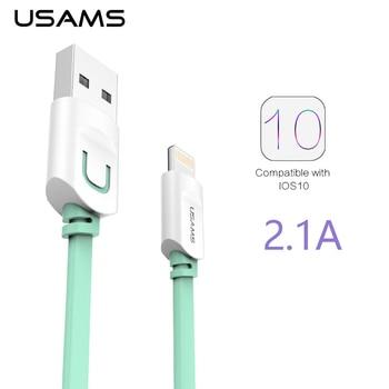 Pour IPhone Câble IOS 10 9 USAMS 2.1A Charge Rapide 0.25 m 1 m 1.5 m Plat Usb Chargeur Câble Pour iPhone 7 i6 iPhone 6 6 s câble