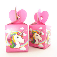 6pcs/lot Unicorn theme Cartoon paper bags baby shower souvenirs gift candy boxs birthday party decorations event party supplies(China)