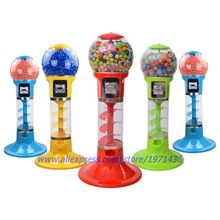 With 500pcs toys, Mini Coin Operated Candy Vendor Gumball Capsules Toy Spiral Vending Machine(China)