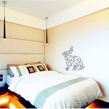 Geometric Rabbit Wall Decal Vinyl Sticker Geometry Animal Series Wallpaper 3D Visual Effects Wall Art Mural - Custom Home Decor(China)