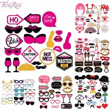 FENGRISE 31Pcs Bachelorette Party Photo Booth Props Hen party Decoration Phootbooth props Bridal Shower Wedding Party Supplies
