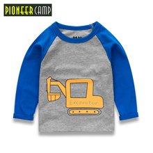 Pioneer Camp Kids Boys Clothes Long Sleeve Boys Clothes Embroidery Car Children Clothing Spring/Autumn T shirts For 2-10T Boys