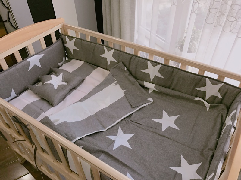 3 pcs set gray star baby crib bedding set kids bedding newborn baby bed set pillow duvet cover bed sheet  baby cot set baby<br>