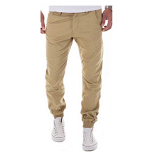 2017 New Casual Men Pants Slim Pant Straight Trousers Fashion Solid Khaki Black Pants Men Small Foot Trousers Plus Size 3XL GDWA(China)