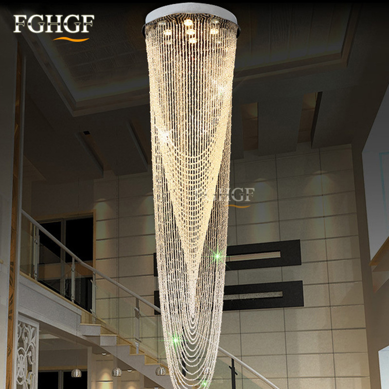 Luxury Large Crystal Chandelier Light Fixture for Lobby Staircase Stairs Foyer Long Spiral Crystal Light Lustre Chandeliers Lamp (1)