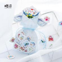 100 pcs/pack Keep Mewo Garden Organza Bag Decorative Stickers Adhesive Stickers DIY Decoration Craft Scrapbooking Stickers