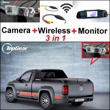 3 in1 Special Rear View Camera + Wireless Receiver + Mirror Monitor DIY Back Up Parking System For Volkswagen VW Amarok Robust