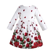 Girl Dress Princess Costume 2017 Brand Long Sleeve Christmas Dresses Kids Clothes Rose Flower Robe Fille Rapunzel Children Dress(China)