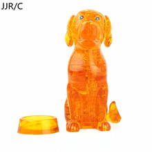 JJR/C 41pcs 3D Crystal Puzzles Puppy Dog DIY animal Pre-Education Toys Birthday gift children play set toys 3D Puzzles(China)