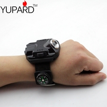 YUPARD New Arrival CREE Q5 LED Wrist Watch rechargeable Flashlight Torch USB Charging Wrist Model  Tactical Flashlight