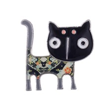 D & Rui Jewelry Statement Metal Alloy Enamel Cat Women Brooch Pins  Animal Brooches Bags Accessory Costume Jewelry