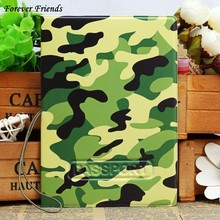 ForeverFriends   PU&PVC  Passport Holder Cover  ID Credit Card Cover Bags Folder  for Travel - army's green pattern