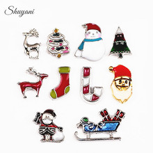 20PCS Christmas Series Charms DIY Enamel Christmas Hat Santa Claus Candy Cane Floating Locket Charms for Living Memory Locket