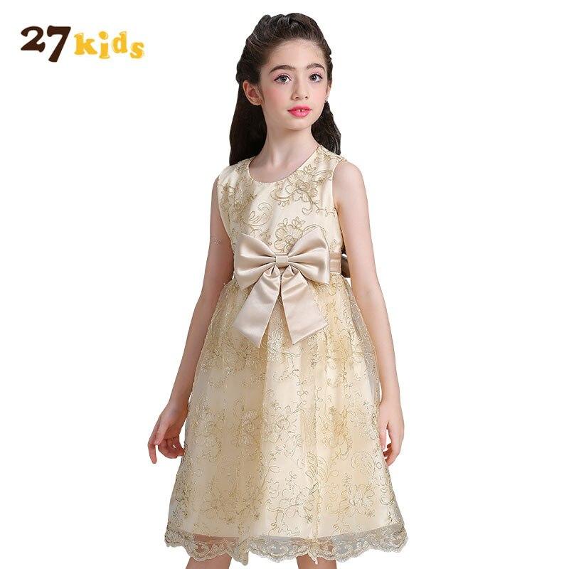 27Kids Baby Girl Dress Wedding Birthday Dresses for Girls Kids Sleeveless Princess Vestido Girl Clothes Summer Lace Tutu Dress<br>