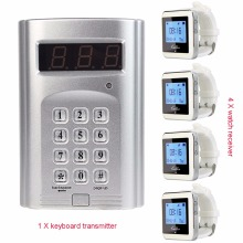 Wireless Paging System Hotel Waiter Pager with 1 Keyboard Transmitter + 4 Watch Receiver Pager F3288B