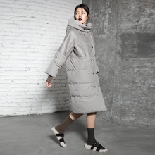 2017 Winter Women Fashion Loose Long Down Jacket Women's Quilted Down Coat High Quality Winter Warm Down Jackets(China)