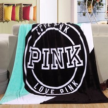 Hot Sale Kintting Blankets Pink VS Secret Manta Fleece Blanket Sofa/Bed/Plane Travel Plaids Bedding Towel(China)