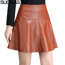 Buy SUCH AS SU 2017 Brand New Fall Winter PU Leather Skirts Womens Brown Black High Waist Pleated Skirt S-3XL Size Female Mini Skirt for $20.06 in AliExpress store