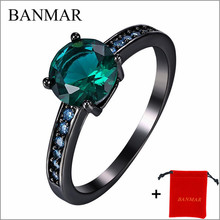 BANMAR Fine Jewelry High Quality Rings Green AAA Zircon 14KT Black Gold Filled Ring For Wedding Women Lady's Size 7/8/9