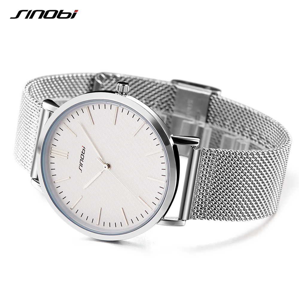 SINOBI Ultra-thin Women Watches Top Brand Luxury Business Quartz Watch Fashion Ladies Wrist Watch Mesh Band  Reloj Mujer 2017<br>