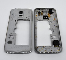 Original New Mid Middle Frame Plate Bezel Housing + Camera Cover For Samsung Galaxy S5 mini g800f silver color