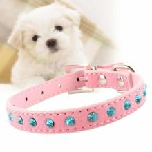 Hot Bling Crystal Rhinestones Leather Pet Dog Collars Puppy Cat Choker Necklaces Pink XS Adjustable Puppy Collar Buckle