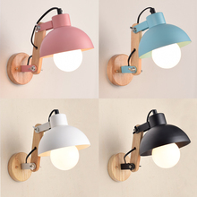 Simple modern Wall Lamps bedroom bedside lamp and cafe restaurant retro wooden adjustable wall light LU71356 YM(China)