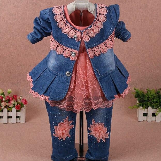Новый 2017 весна девушки цветок джинсовый жакет + футболка + брюки одежда наборы 3 шт. детская одежда наборы девушки осень случайные костюм дет...(China)