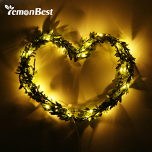 LemonBest 3M 30 LEDs leaf garland battery operate Copper LED fairy string lights for christmas wedding decoration party event(China)