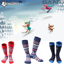 SANTO Brand Kids Boys full thick warm skiing cotton socks,Children Girls Winter skiing skating board long thermal socks s75 s76