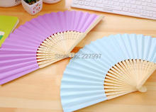 200pcs/lot Free Shipping Fashion Wedding Paper Fan Bride Hand Fan with bamboo ribs Craft Fan wedding Favor party gift
