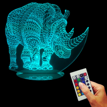 Free Shipping 1Piece 3D Illusion Rhinoceros Lamp Handmade Plexiglass USB Remote Control Colorful Light Acrylic LED Edge Lit Sign