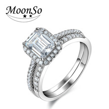 Moonso New Fashion Design 925 Silver Rings Emerald Cut AAA CZ Diamond Engagement Ring Set for Women Wedding Jewelry LR4212S