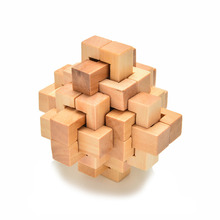 Chinese Kongming Luban Intelligence Wooden Lock 76*76*76mm Puzzle Toy For Child Over 3 Years Old