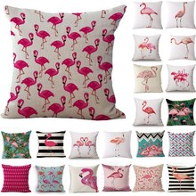 1Pcs Flamingo Pattern Cotton Linen Throw Pillow Cushion Cover Seat Car Home Decoration Sofa Decor Decorative Pillowcase 40158