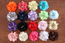 Chiffon Flowers Hair Flowers Two Pearl Two Rhinestone Chiffon Flower,Baby girl children hair accessories