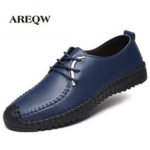 AREQW 2017 Spring and autumn new men's business shoes casual leather solid leather shoes soft bottom round with men's shoes(China)